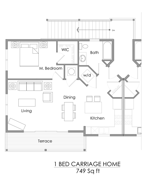 One bedroom carriage home floor plan – 749 sq ft.