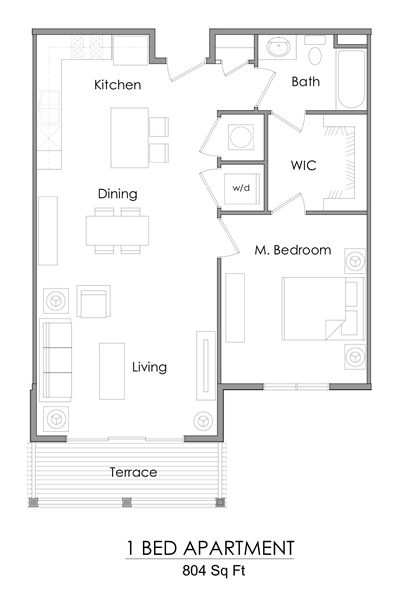 One bedroom apartment floor plan – 804 sq ft.