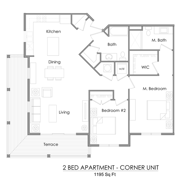 Two bedroom corner unit apartment floor plan – 1195 sq ft.
