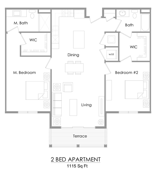 Two bedroom apartment floor plan – 1115 sq ft.