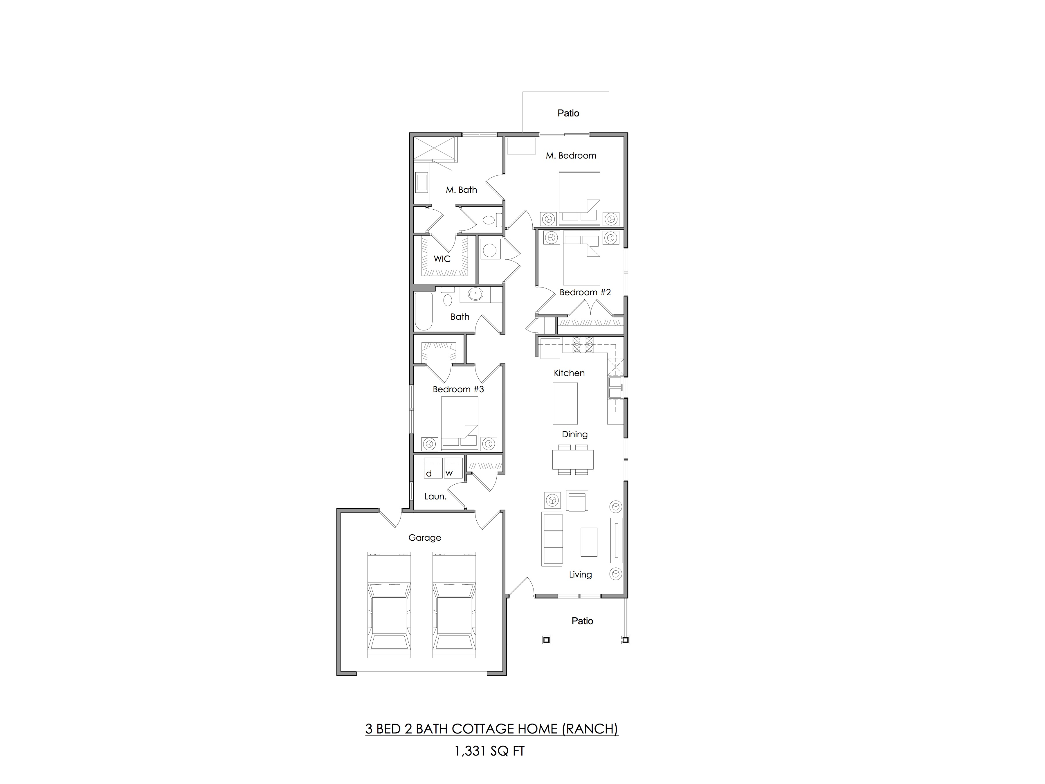 Three bedroom Cottage home floor plan (ranch) — 1,331 sq ft.