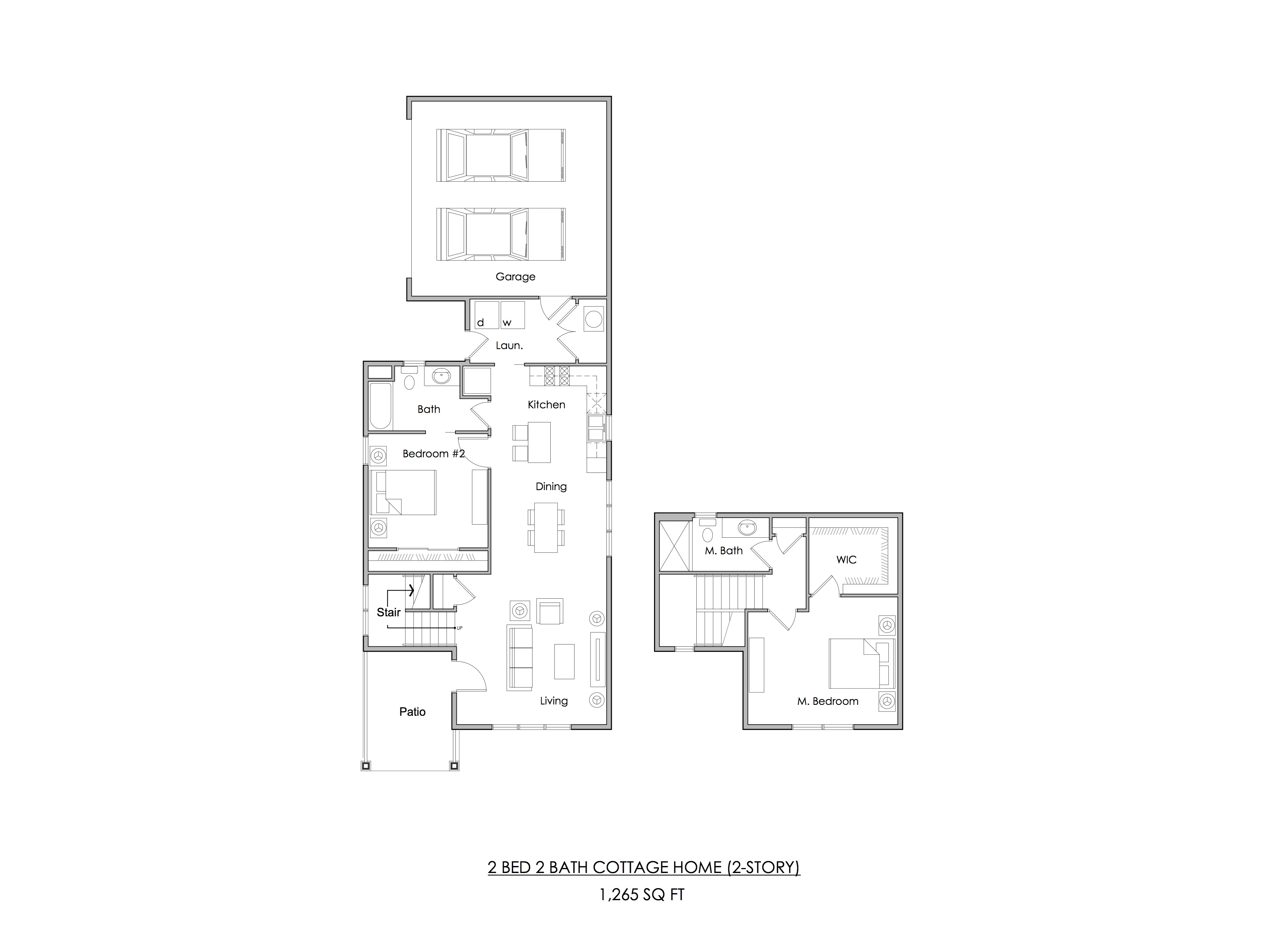 Two bedroom Cottage Home floor plan (2-story) — 1,265 sq ft.