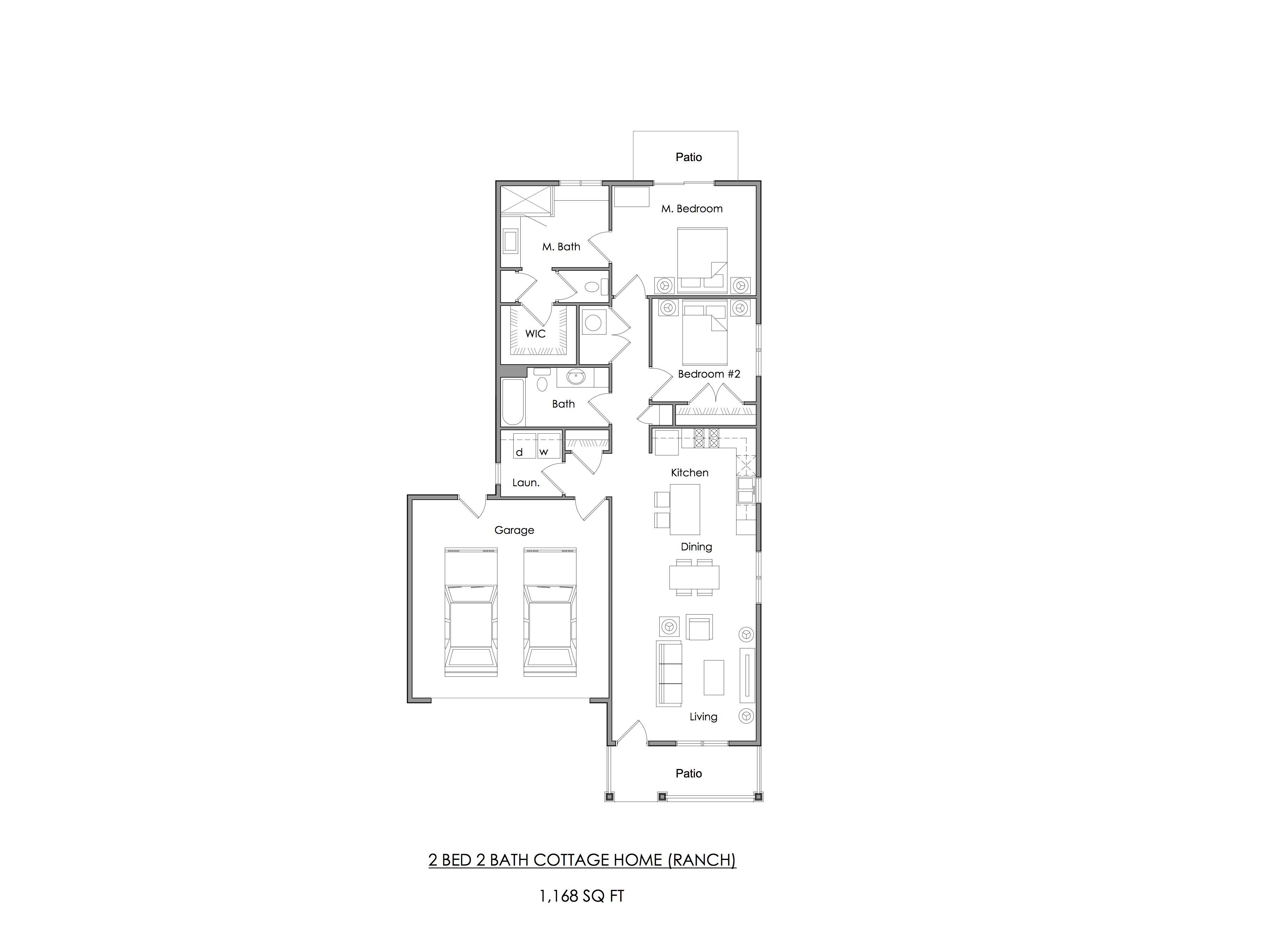 Two bedroom Cottage Home floor plan (ranch) — 1,168 sq ft.