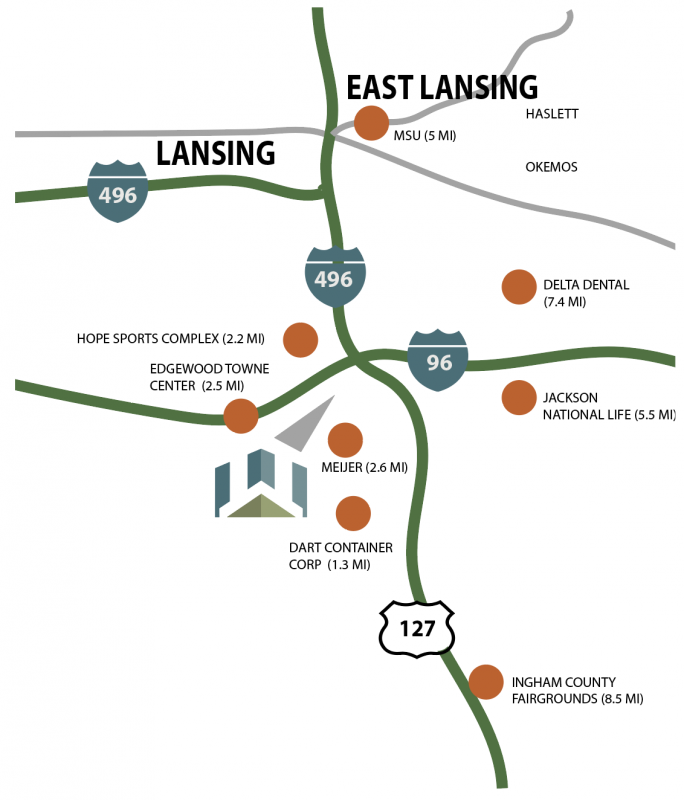 Map of Willoughby Estates with proximity to Lansing and Michigan State University's campus